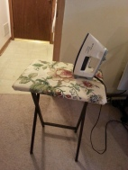 Ironing table made from a $10 tray table from WalMart, and 100% cotton upholstery fabric and natural fiber batting.
