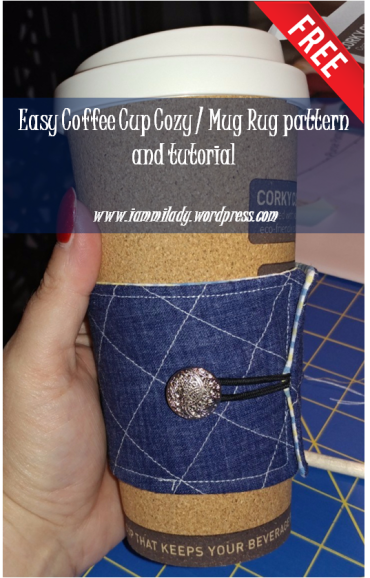 Coffee cup cozy and mug rug tutorial you can make yourself with free pattern template. Fits those Starbucks cups too!